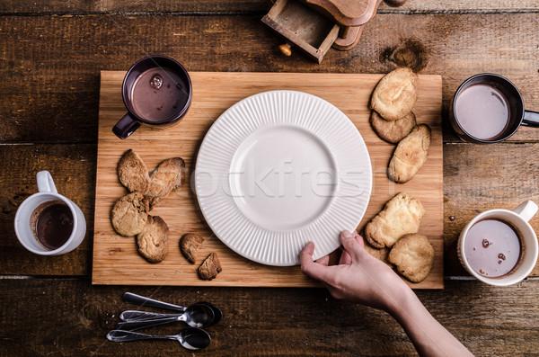 Homemade hot chocolate, homemade butter cookies Stock photo © Peteer