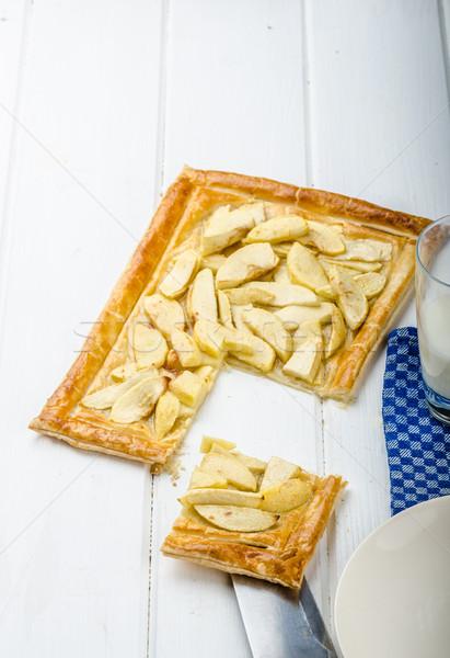 Stockfoto: Rustiek · appel · taart · gebak · melk · voedsel