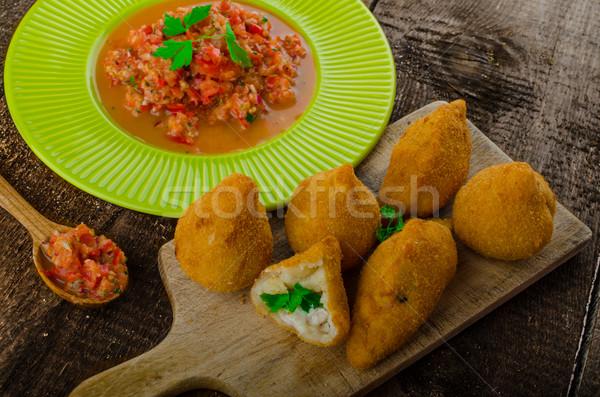 Kip street food populair wereld vulling Stockfoto © Peteer