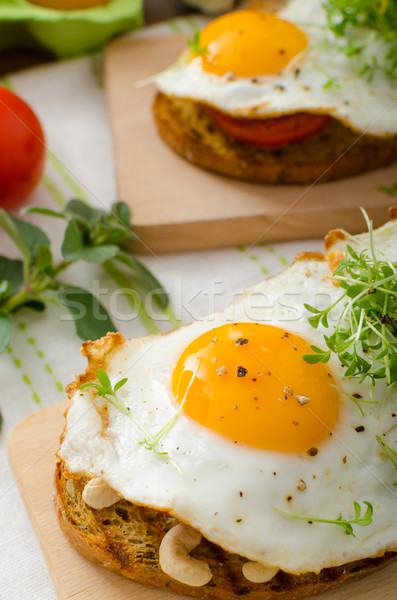 Stock photo: Healthy dinner panini toast, egg and vegetable