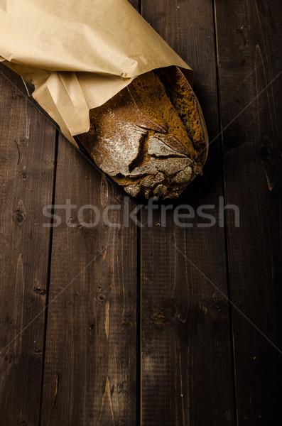 Házi készítésű kenyér fa tábla hely hirdetés Stock fotó © Peteer