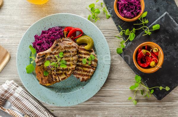 焼き 豚肉 ハーブ ニンニク ジャガイモ パンケーキ ストックフォト © Peteer