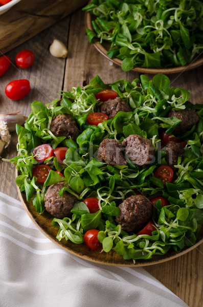 Meatballs beef with fresh salad Stock photo © Peteer