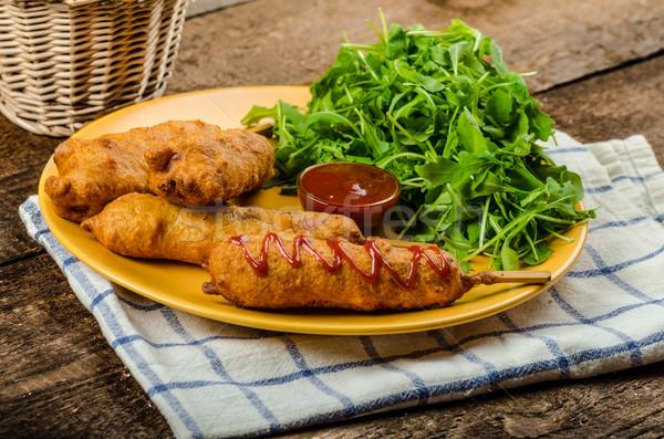 Kukorica kutya friss saláta forró mártás Stock fotó © Peteer