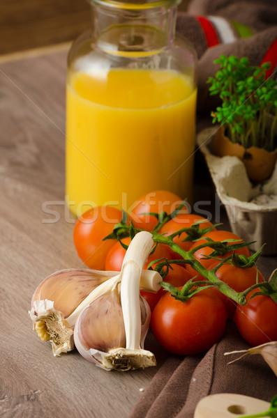 Pörkölt koktélparadicsom mártás pirítós friss narancslé Stock fotó © Peteer