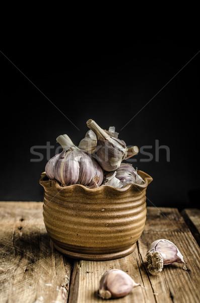 Házi készítésű bio fokhagyma egyszerű reklám bioélelmiszer Stock fotó © Peteer