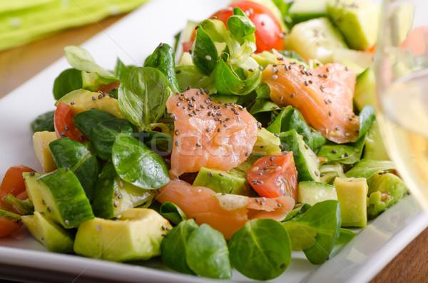 Stock fotó: Friss · saláta · lazac · bárány · saláta · avokádó