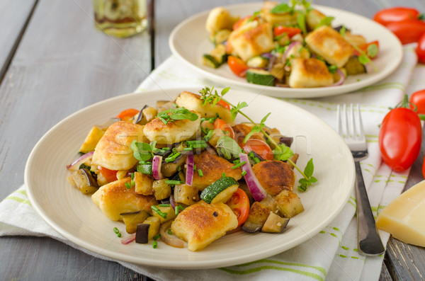 Homemade gnocchi with Mediterranean vegetables Stock photo © Peteer