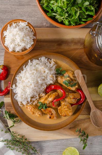 Finom csirkés curry fehér rizs egyszerű tele Stock fotó © Peteer