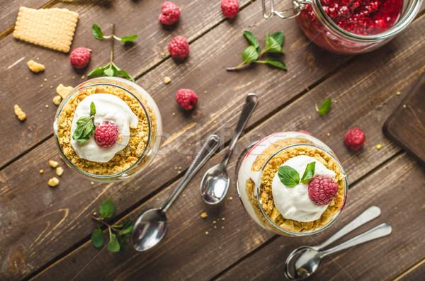 Foto stock: Tarta · de · queso · postre · vidrio · delicioso · simple · frescos