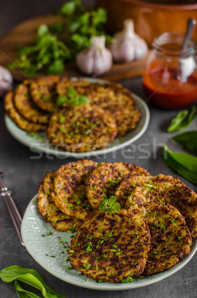 Potato pancakes, fried chicken with potatoes Stock photo © Peteer