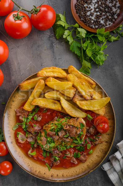 Chicken steak with herbs, homemade french fries Stock photo © Peteer
