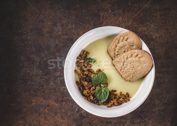 バニラ プリン 自家製 グラノーラ 単純な デザート ストックフォト © Peteer