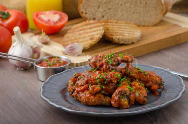 пряный куриные крыльями пива хлеб Панини Сток-фото © Peteer