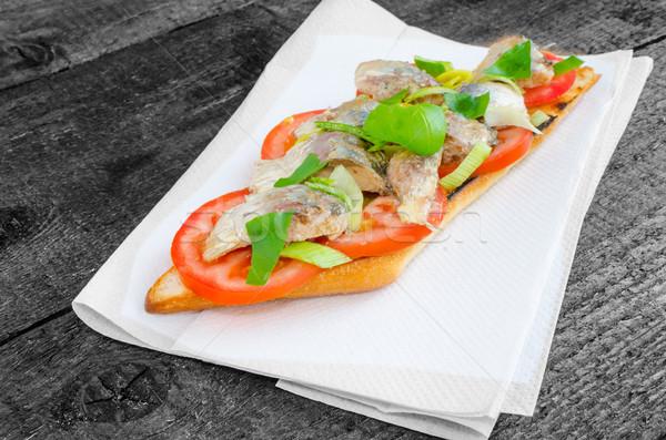 Bruschetta with tomato, sardines Stock photo © Peteer