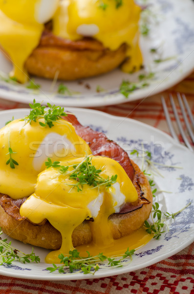 Eggs benedict, prosciutto with hollandaise Stock photo © Peteer