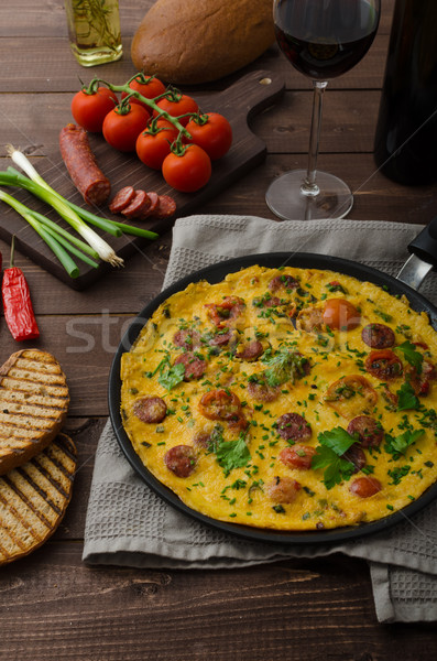 Mens omelette with chorizo Stock photo © Peteer