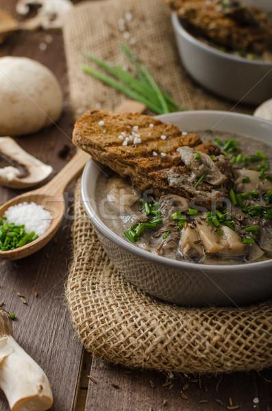 Foto stock: Setas · sopa · hierbas · bio · saludable · integral