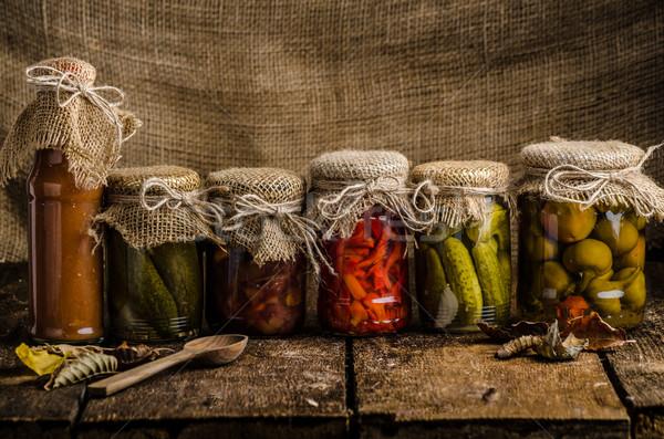 Stock fotó: Főtt · zöldségek · savanyúság · házi · készítésű · ketchup · sült