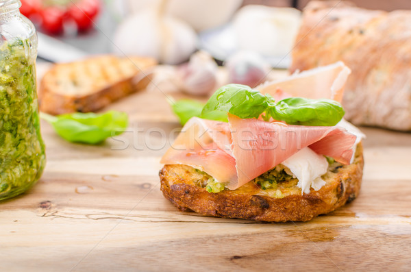 Crostini with ham and cheese Stock photo © Peteer