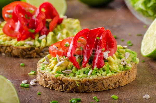 Bio avokádó vaj kenyér teljes kiőrlésű kenyér magok Stock fotó © Peteer