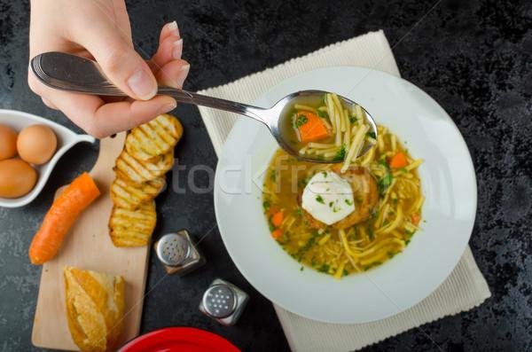 Sığır eti et suyu tost yumurta ev yapımı makarna Stok fotoğraf © Peteer