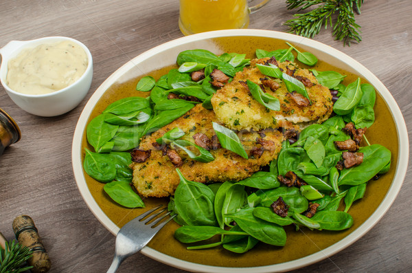 Rabbit steaks with herbs and sour cream Stock photo © Peteer