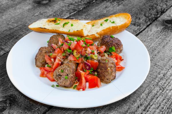 Köfte baharatlı domates salsa Stok fotoğraf © Peteer