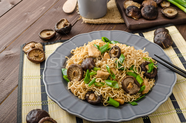 Stock photo: Chinese noodles with chicken and shitake