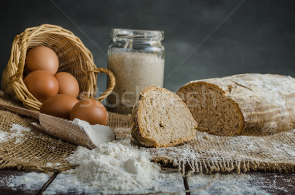 Home baked bread from sourdough rye Stock photo © Peteer