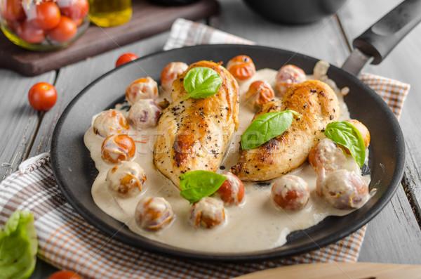 焼き鳥 乳がん クリーム ソース トマト ストックフォト © Peteer