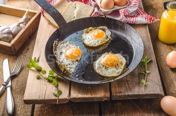 卵 フライド 素朴な スタイル バイオ 白パン ストックフォト © Peteer