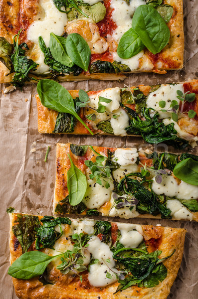 Pizza with spinach and mozzarella Stock photo © Peteer
