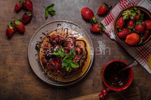 ストックフォト: アメリカン · パンケーキ · イチゴ · 新鮮な · チョコレート · ミント