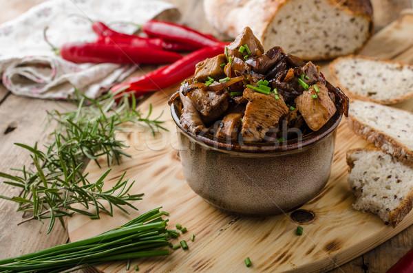 Teriyaki chicken with bread Stock photo © Peteer