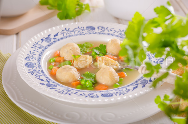 Fresh vegetable soup with chicken dumplings Stock photo © Peteer