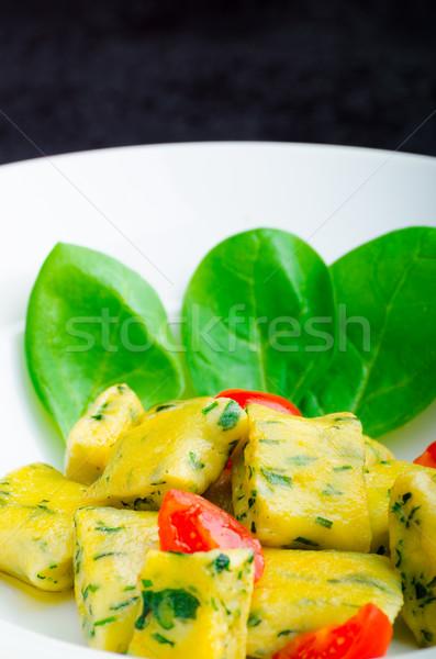 Spinazie gesmolten boter kerstomaatjes voorjaar voedsel Stockfoto © Peteer