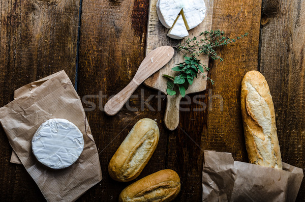 Camembert, soft cheese with homemade pastries Stock photo © Peteer