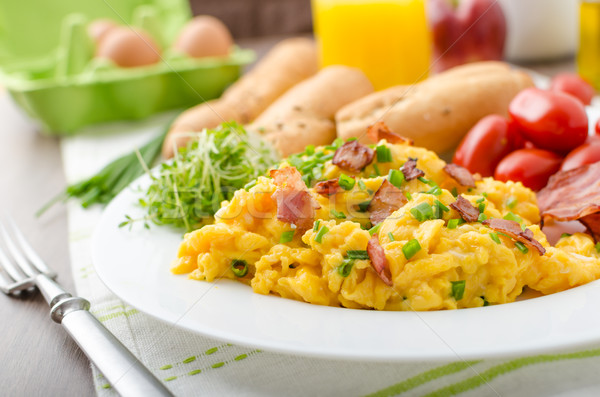 Scrambled eggs with bacon Stock photo © Peteer