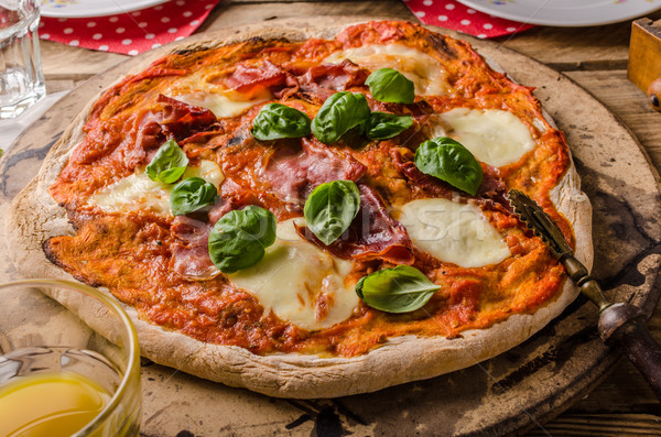 Pizza margherita rustic style Stock photo © Peteer