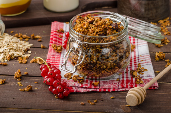 Házi granola eszik tiszta sült diók Stock fotó © Peteer
