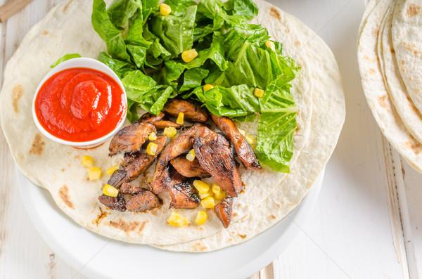 Tavuk teriyaki salata tortilla sıcak sos ev yapımı Stok fotoğraf © Peteer