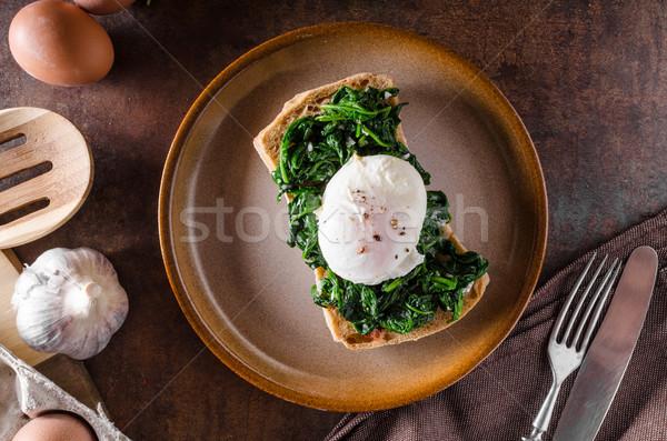 ストックフォト: 卵 · ニンニク · ほうれん草 · 焼いた · 緑 · 卵