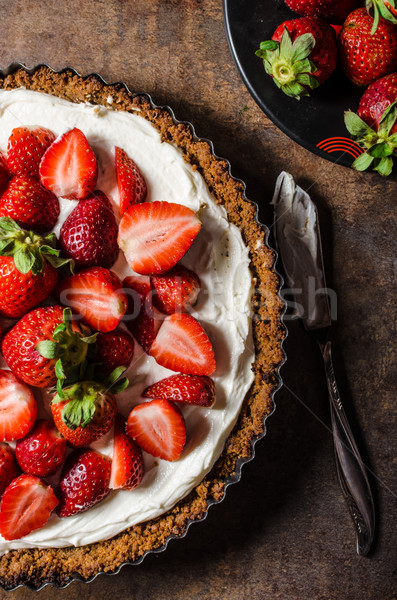 Stock photo: Cheesecake with strawberries