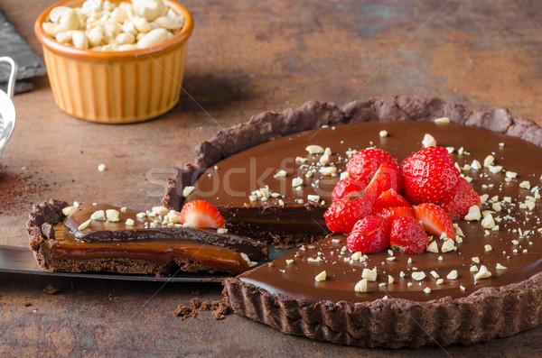 Delicious caramel chocolate tart Stock photo © Peteer