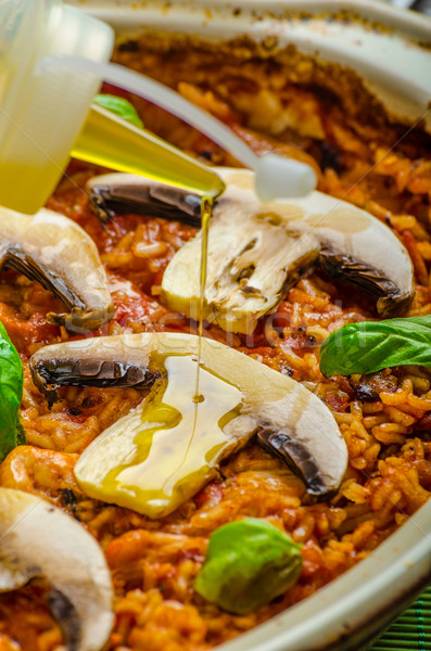 Stok fotoğraf: Tavuk · pirinç · mantar · domates · otlar