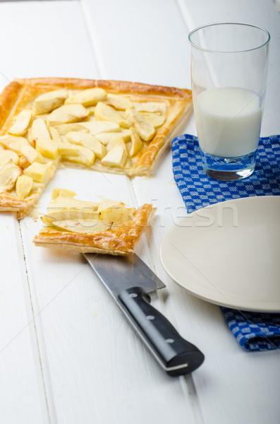 Rústico manzana tarta leche alimentos Foto stock © Peteer
