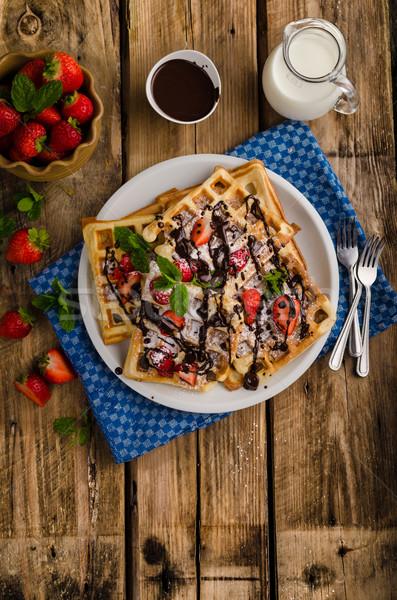 Origineel suiker aardbeien weinig chocolade melk Stockfoto © Peteer