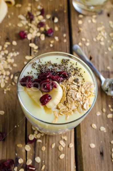 ストックフォト: バイオ · 健康 · 朝食 · グラノーラ · ギリシャ語 · ヨーグルト