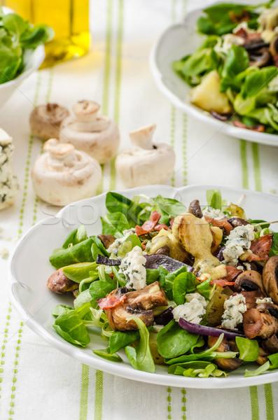 Saláta új krumpli márványsajt szalonna olívaolaj Stock fotó © Peteer
